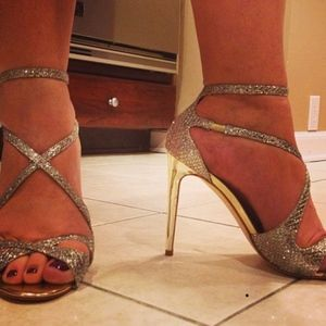 "Ivanka Trump Leather Silver Glitter Gold 4"" Heel"